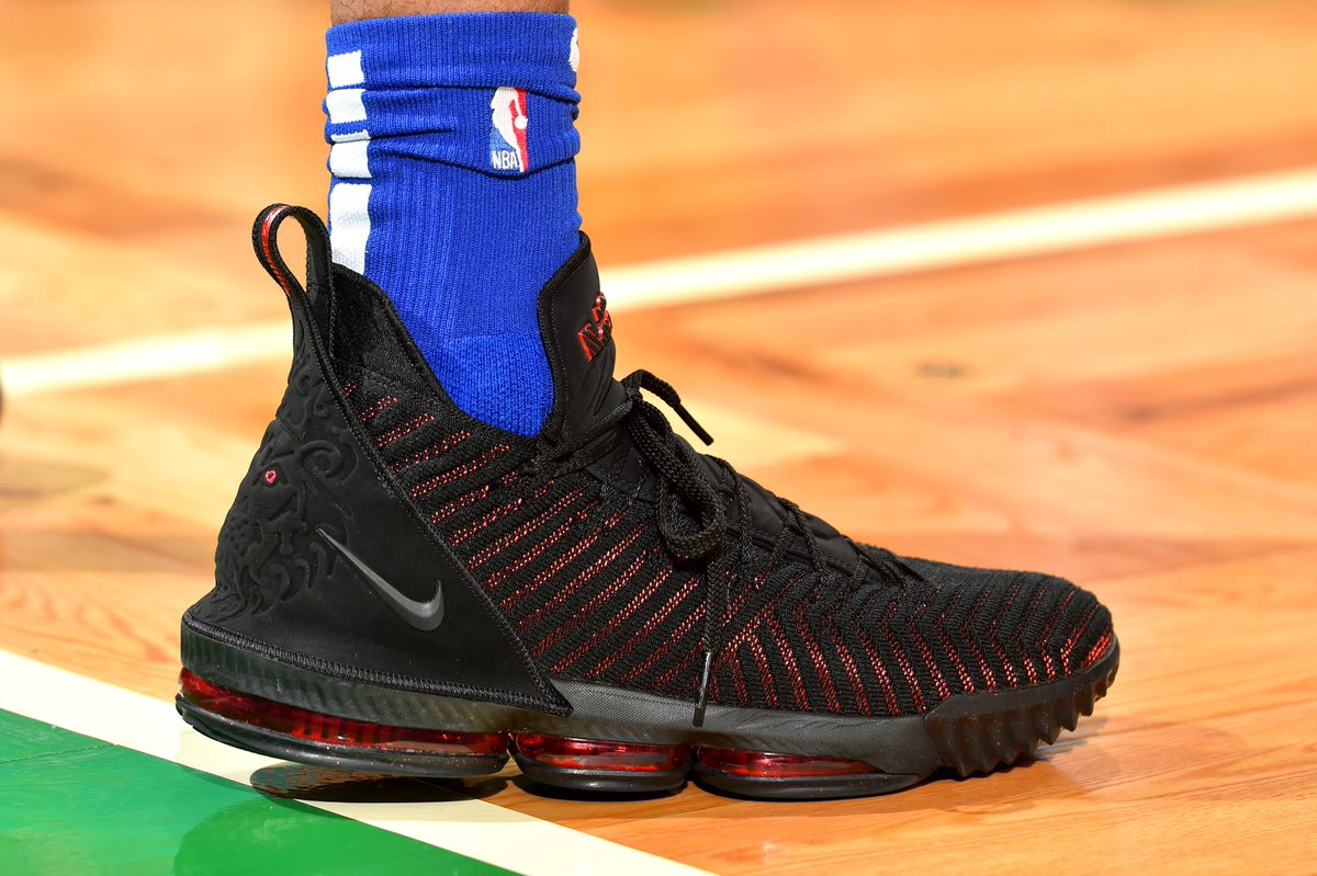 "e304047c935a3 markellef wears the ""fresh bred"" nike lebron 16 against the celtics   solewatch"