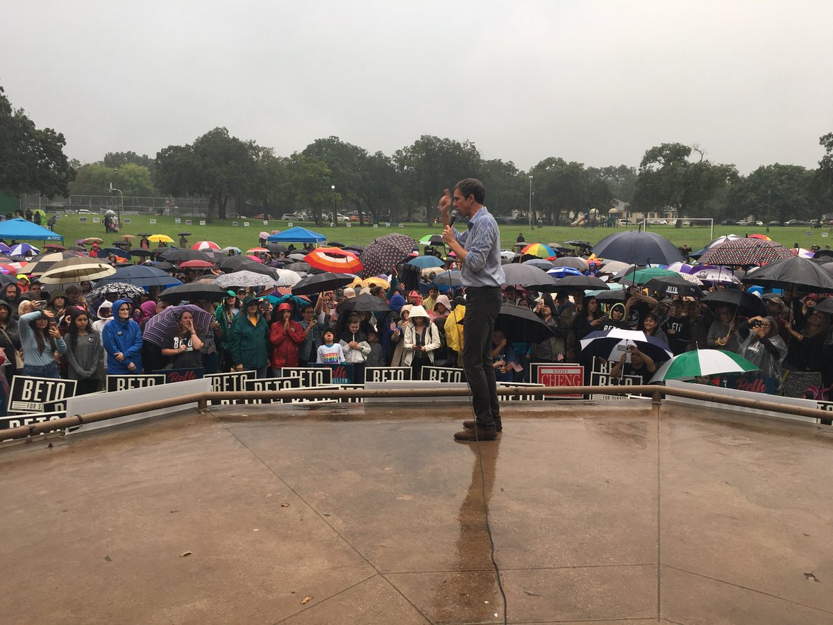 Beto shows up for us every single day. Even on rainy ones. Tonight, we&#39;re all showing up for him. Join #TeamBeto and tune in to the  #TXSenateDebate at 8. <br>http://pic.twitter.com/iO82jKIS5X