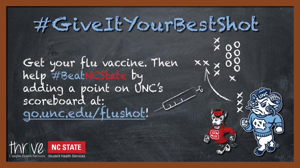 Flu shot score update! 3318 for Tar Heels ~ 1600 for @NCStateSHS #giveityourbestshot #goheels #keepitup ! ! ! Add your flu shot to https://t.co/tx7l9qf1kn https://t.co/P5pJm9309k