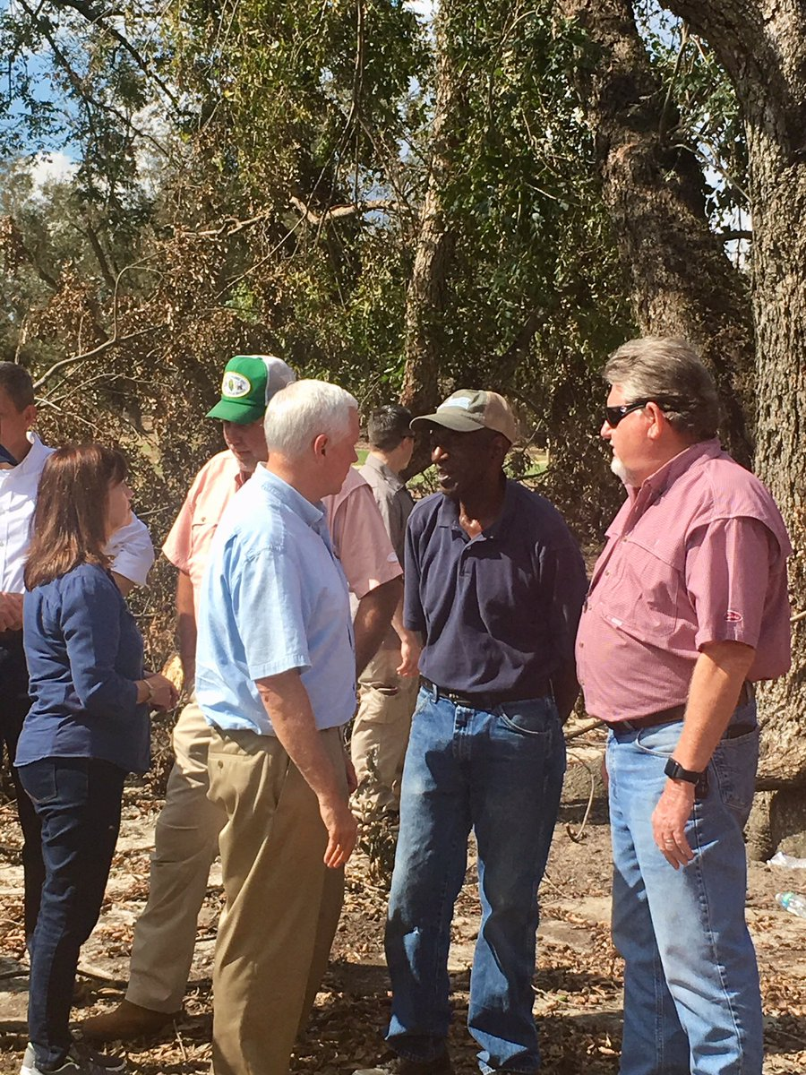 Surveyed the damage to the Pecan Ridge Plantation in Decatur County, where the 2018 pecan crop was lost due to #HurricaneMichael. @SecondLady &amp; I heard from other local farmers too &amp; we made clear - we will be with them every step of the way as they begin to rebuild.<br>http://pic.twitter.com/8qCQHufHzk