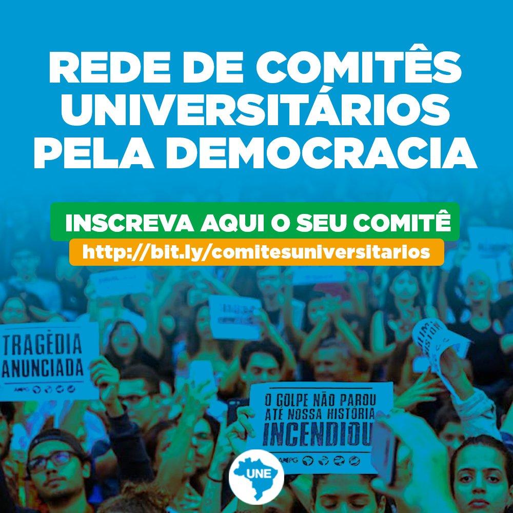 Contamos com todos os estudantes brasileiros, para estarmos mais uma vez do lado certo da história. Vamos nos organizar e fortalecer essa corrente. Inscreva o comitê da sua universidade no link abaixo, para receber material e mais informações.  ➡ https://t.co/RpP5DZtqpb