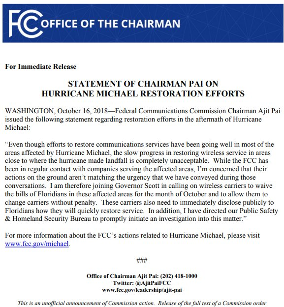 The Fcc على تويتر Read Chairman Ajitpaifcc S Statement On