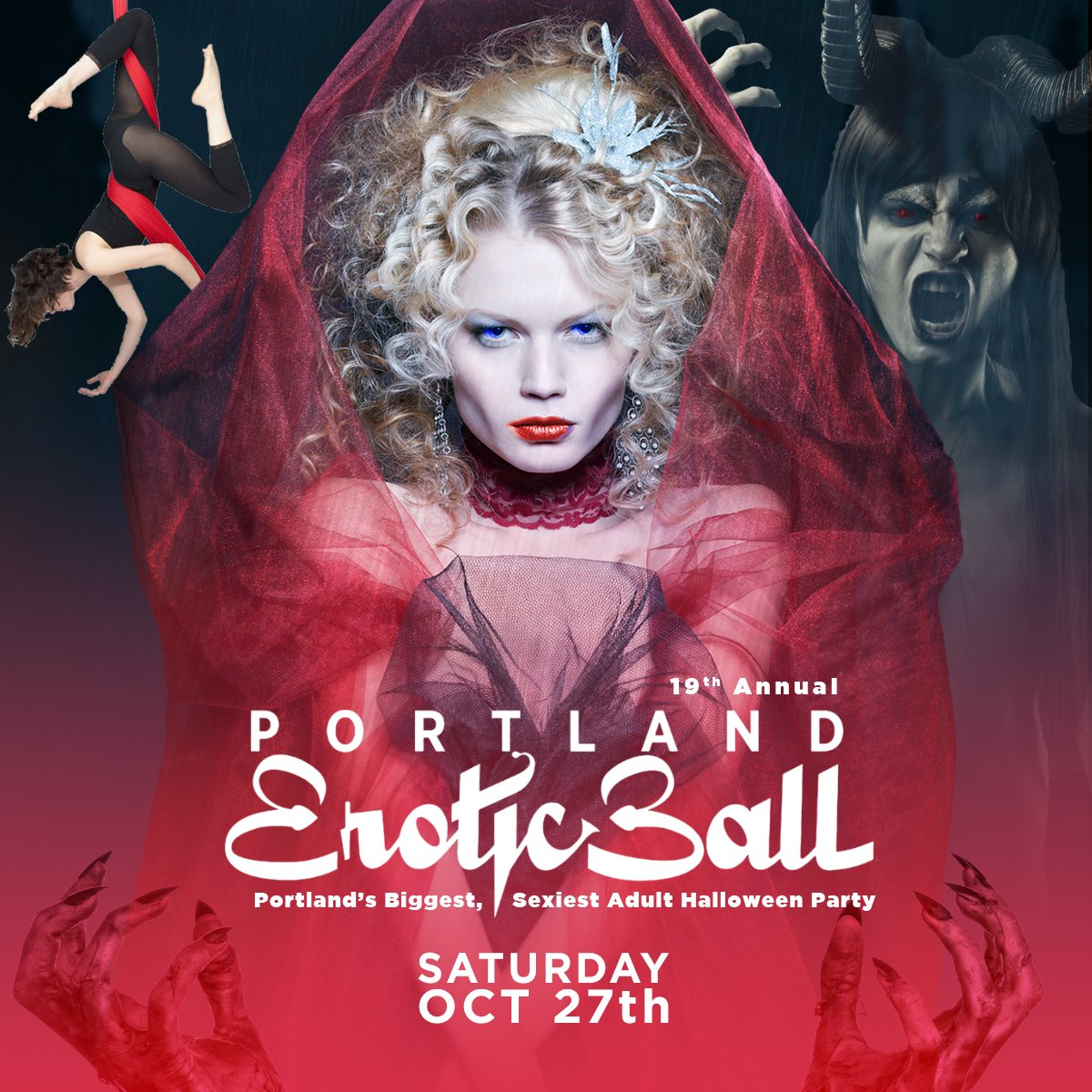Portland's naughtiest Halloween party features a Costume Contest, 3 Floors, Fetish Demos, music by Soul Vaccination, Burlesque, @SashaScarlett & More!