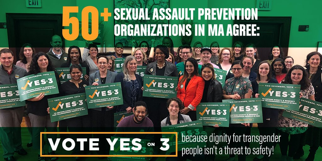 Care about safety for women and survivors? Then listen to the 50 sexual assault prevention organizations in MA who have backed a #YesOn3 vote because they know that dignity for our #trans neighbors doesn't threaten public safety. https://t.co/cYEuvYXnCx #MAPoli