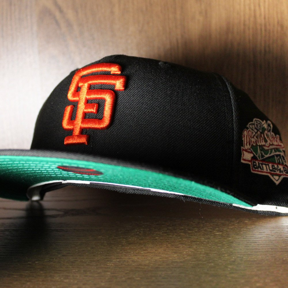 ab2e30ab28c 1989 BATTLE OF THE BAY SF Giants New Era Fitted Hat (GREEN UNDER BRIM)