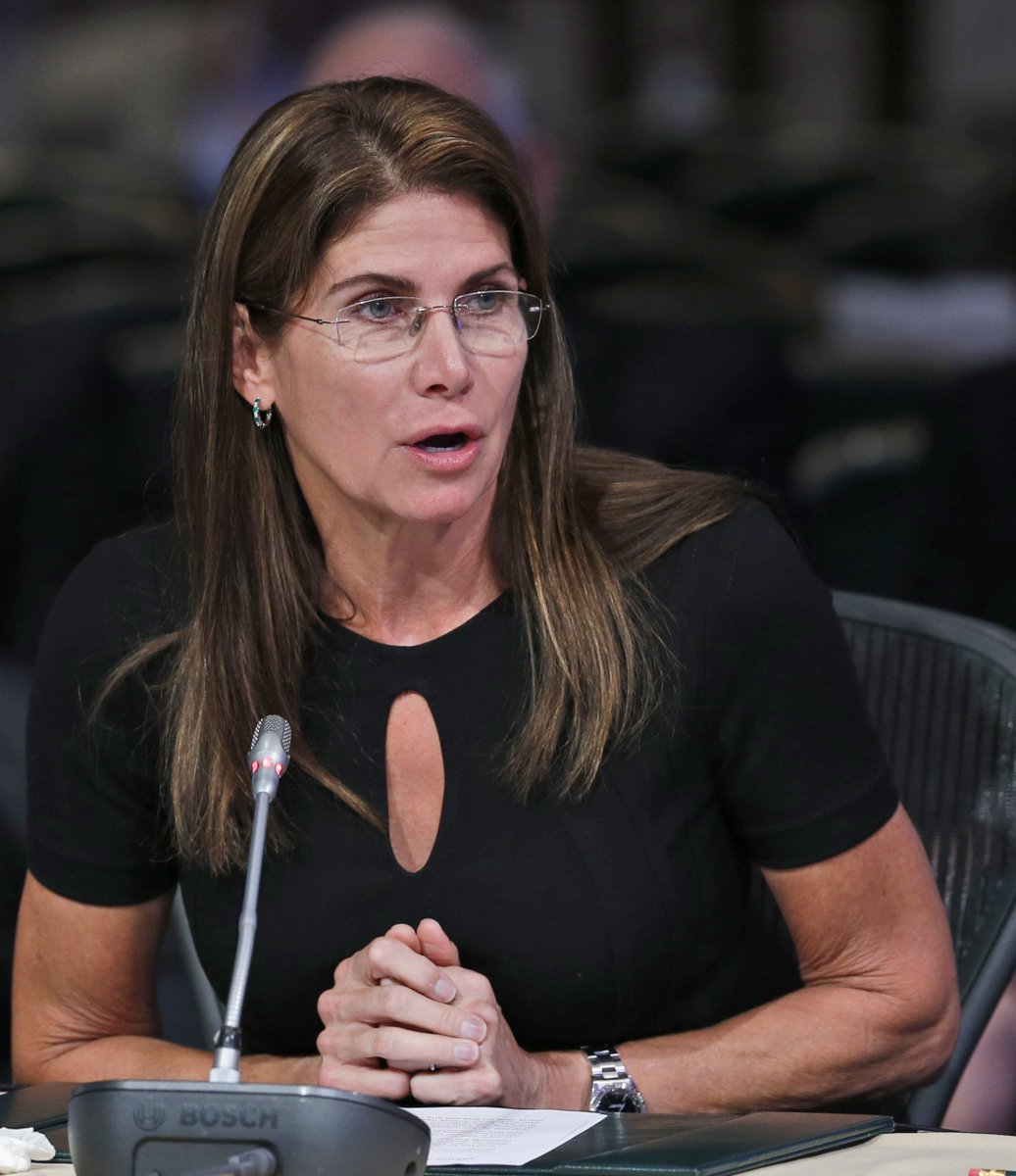 Ex-GOP Rep. Mary Bono resigned as interim head of USA Gymnastic after just 4 days. She cited 'personal attacks' following her decision to post photo of herself blacking out the Nike logo on a shoe — a reference to Colin Kaepernick.