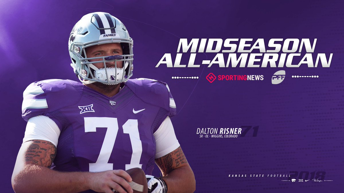 Pair of midseason All-American honors for Risner: one by @PFF_College and the other by @sportingnews #KStateFB #EMAW