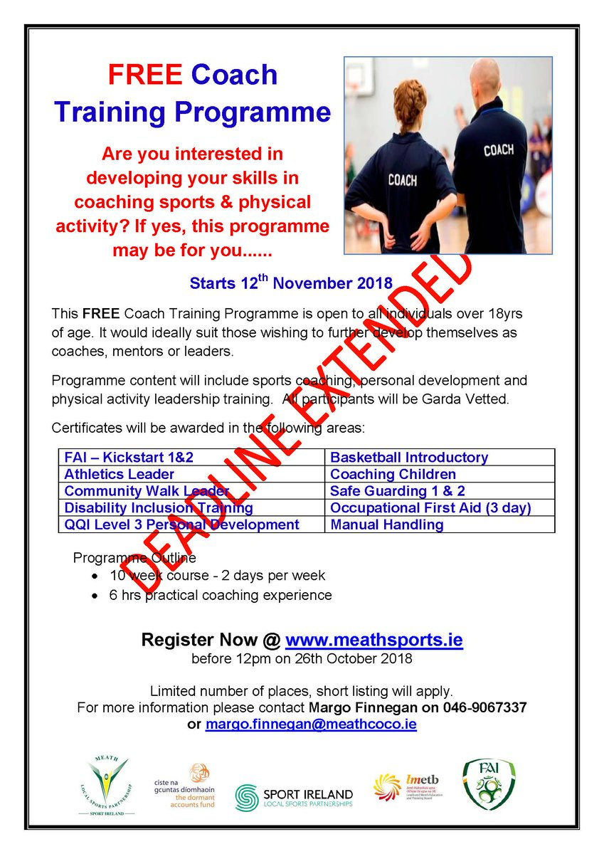 ca1110a1e0f Meath Local Sports Partnership are running a free 10-week coach training  programme starting on 12th of November. Anyone interested in taking part  can ...