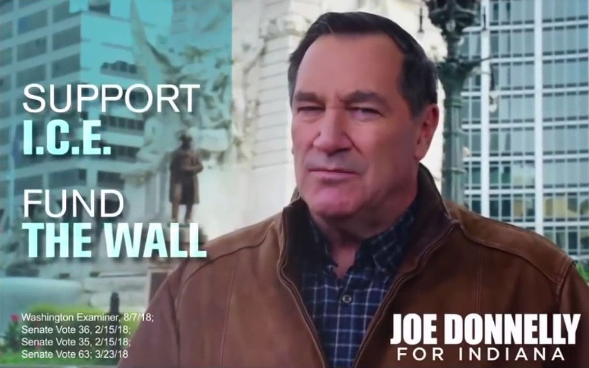 """Republicans hoping to take back a Senate seat in Indiana said an ad by Democrat Joe Donnelly, backing the idea of a wall on the Mexican border and supporting I.C.E., showed the Democrat was becoming """"desperate' https://t.co/EVtpjDp5b2"""