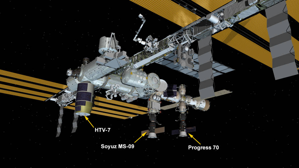 There are three spaceships parked at the station today including Russia's Soyuz MS-09 crew ship and Progress 70 resupply ship and Japan's HTV-7 cargo craft. https://t.co/c6G2ZtJtmo