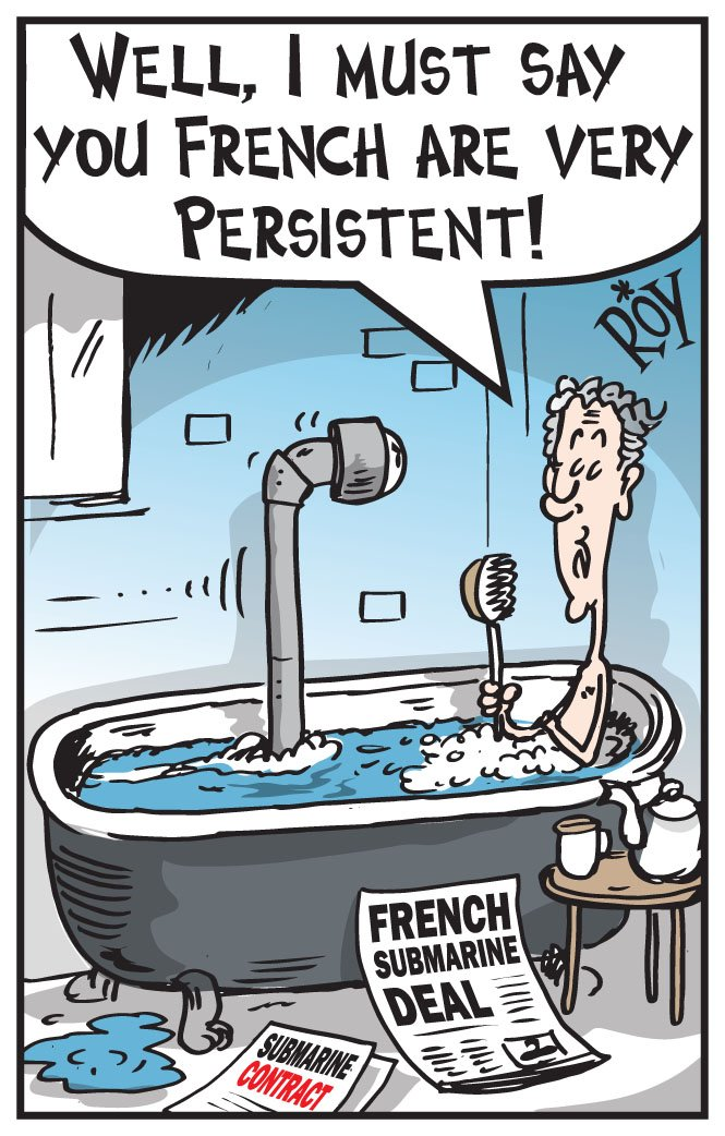 """Chris 'ROY' Taylor on Twitter: """"Defence Minister, Christopher Pyne insists  Australia's $50bn #Submarine deal with a #French contractor is on schedule  and on #budget. #Cartoon: Herald Sun #auspol #ChristopherPyne #Liberals  #TheFixer #business #"""