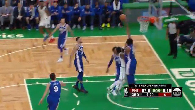 Joel Embiid protects the paint & jams on the other end! #KiaTipOff18  #HereTheyCome @NBAonTNT https://t.co/eOSQhyjn1S