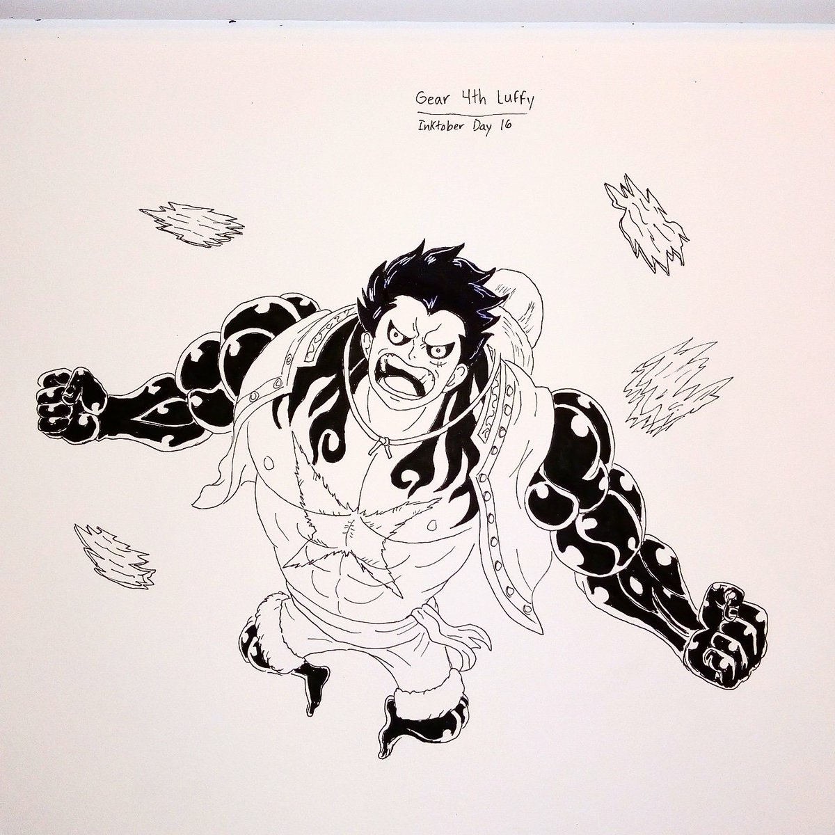 Here Is My Sixteenth Inktober Picture Of Gear 4 Luffy From One Piece