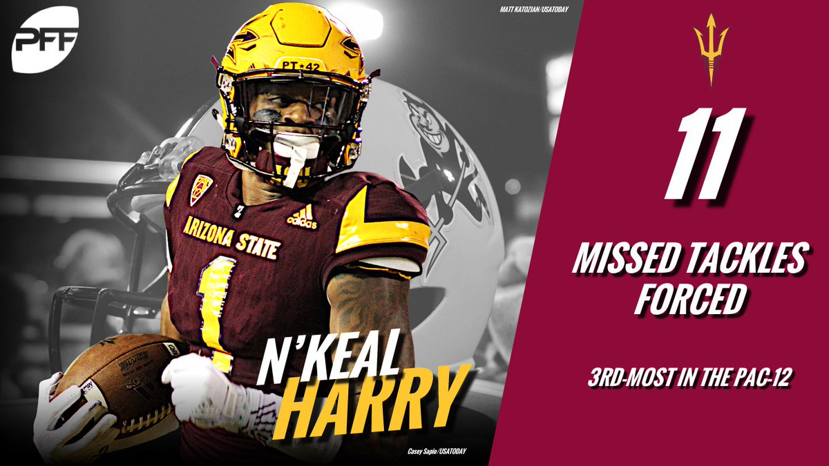 NKeal Harry has forced 11 missed tackles after receptions this year – 3rd-most in the Pac-12