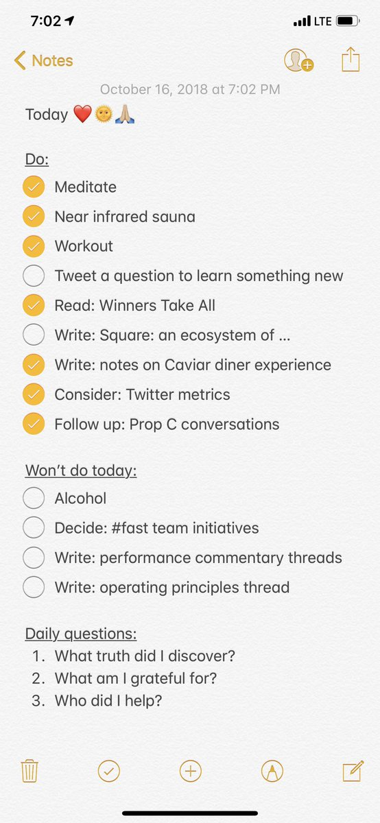 """A practice I've been using off and on for years: every morning I write a checklist of work I intend to do today, and work I won't do today. Focused on more strategic efforts rather than calendar stuff. I check off the """"won't do"""" before sleep (and eventually move them up to """"do"""")."""