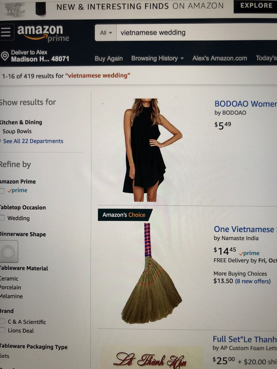 Why is it that I typed in Vietnamese wedding on Amazon and