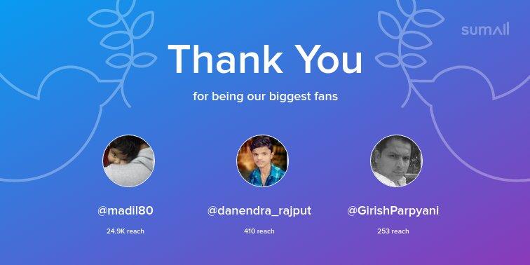 Our biggest fans this week: @madil80, @danendra_rajput, @GirishParpyani. Thank you! via sumall.com/thankyou?utm_s…