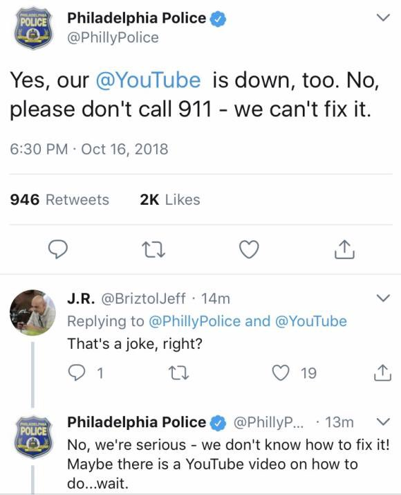 The Philly Police won the internet today. #YouTubeDOWN https://t.co/DvMeQubUzR