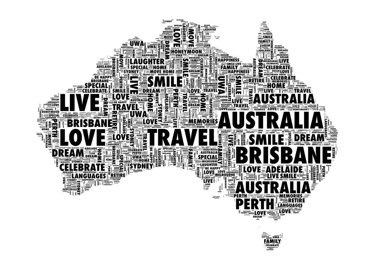 Australia Word Map.Uniquewordart On Twitter Map Australia Personalised Word Art