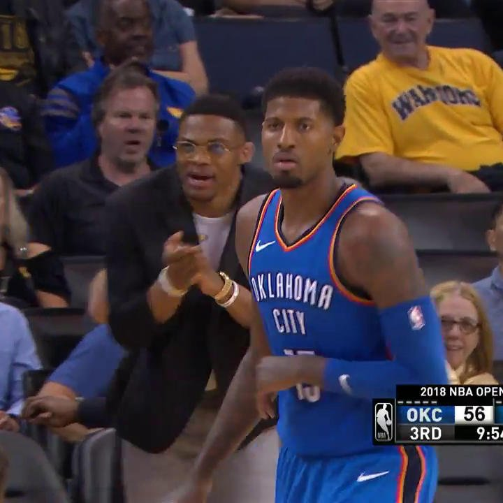 Paul George is heating up and Russ loves it! ��  #ThunderUp https://t.co/ShLOgj7Jdt