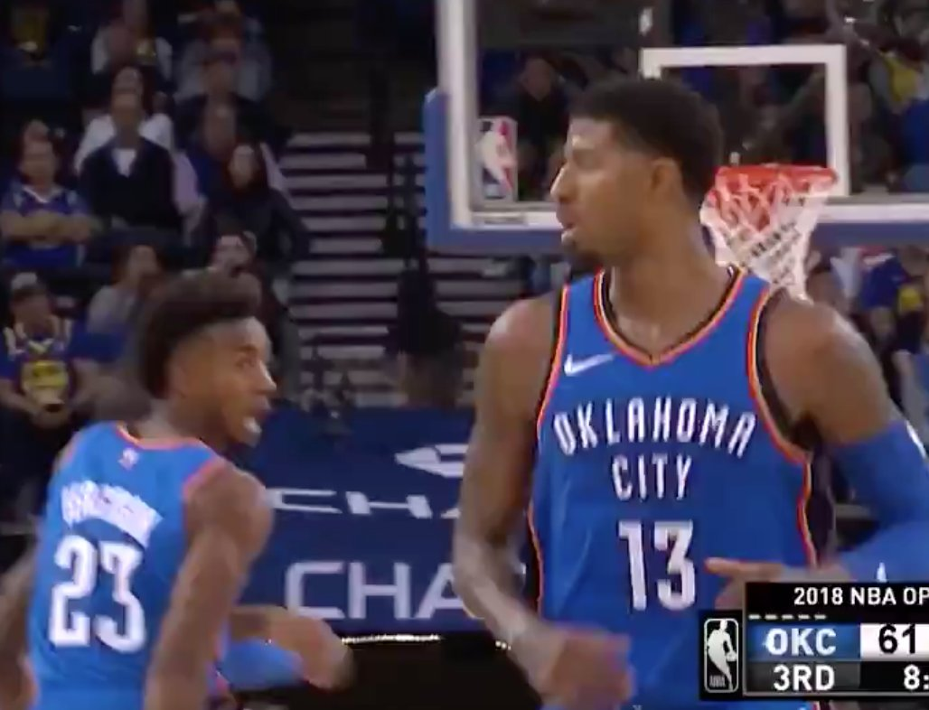Paul George and Dennis Schröder caught fire to help the @okcthunder close the gap in the third! ⚡️  #ThunderUp https://t.co/Qql1A0wdBI