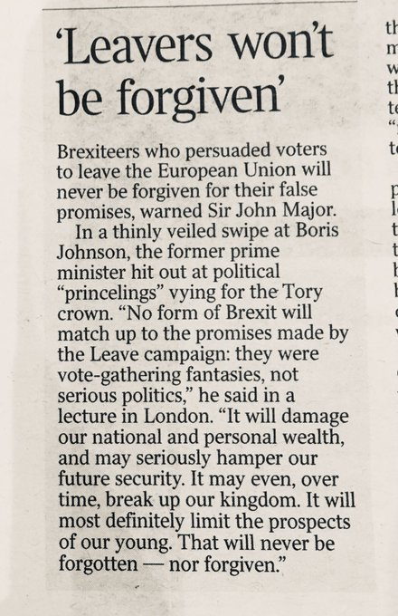 Many ad hominem attacks on John Major for his @rafaelbehr wrote yesterday of Johnson 'the underlying reason he left govt, alongside David Davis, was shame at feeling the cost (of Brexit) up close'... I'd like to believe they felt shame. Not sure they do Photo