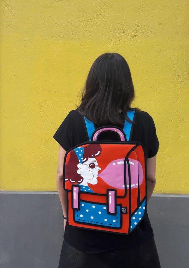 """Bubblegum Addicted""❤️💙💕 🖌🎨Graffiti by @federicaubaldo  Wanna design your own bag? Go check our Monochrome Graffiti Collection!  #jumpfrompaper #cartoonbags #cartoon #2dbags #2dbag #graffiti #art #design #backpack https://t.co/rA39S8gNnY"