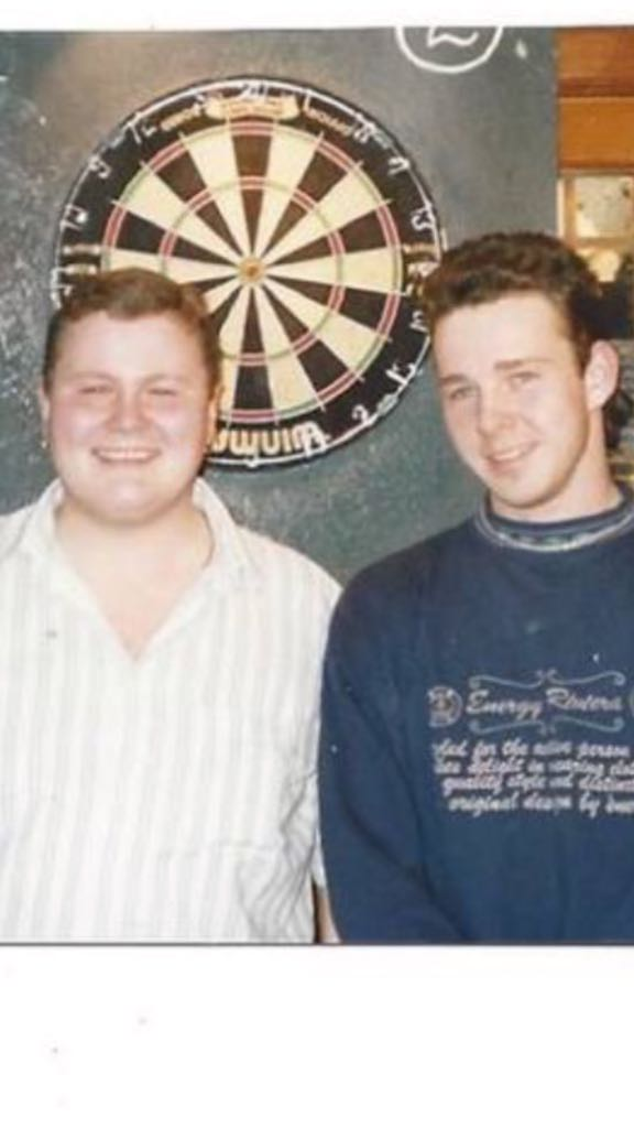 COMPETITION | In honour of @GeorgeNoble180 hitting the bullseye today, we are giving away a set of @snakebitewright darts. All you have to do is quote tweet with your guess of what year this picture of George and Peter was taken. #Darts