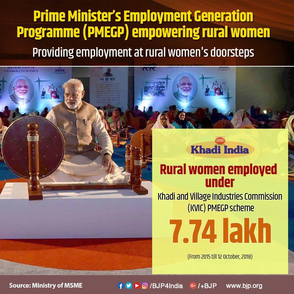 Modi government is providing employment at rural women's doorsteps, 7.74 lakh rural women employed under Khadi and Village Industries Commission's (KVIC) PMEGP Scheme.