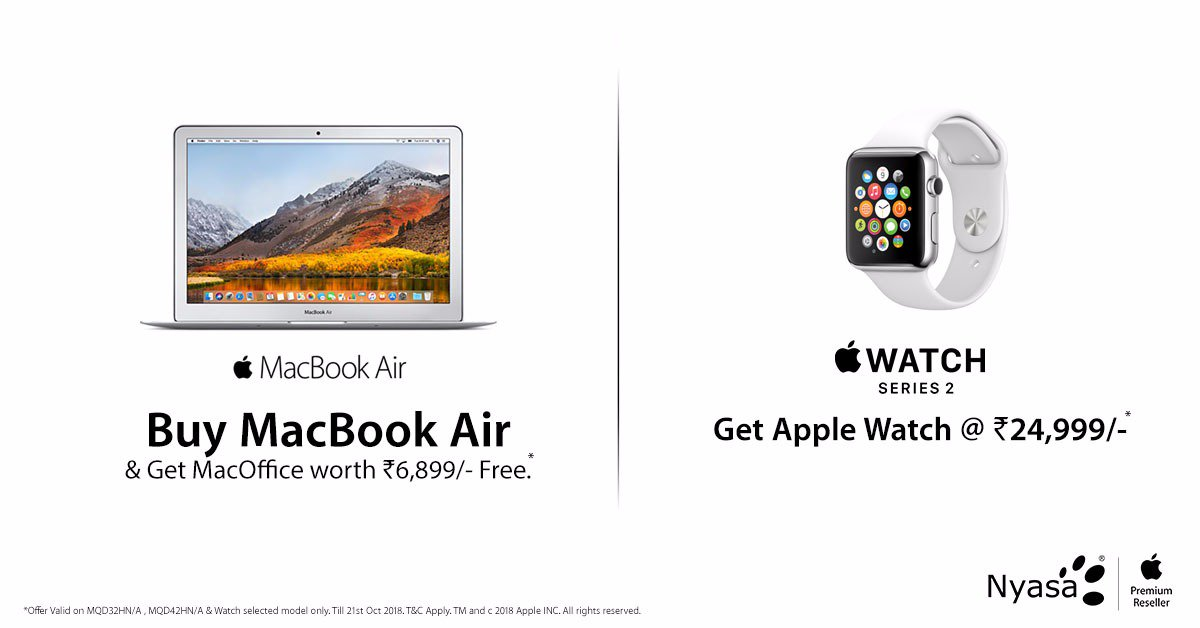 This Dussehra experience the amazing Apple offers at Nyasa.  Buy MacBook Air &amp; Get MacOffice worth ₹6,899 free*  Get Apple Watch at ₹24,999*. Rush to the nearest #Nyasa #Apple Store &amp; grab the offers.  https://www. nyasa.info/our-stores/  &nbsp;   Offer valid till stock last. T&amp;C #Dusshera2018 #Deals<br>http://pic.twitter.com/KTsKBuCJfb