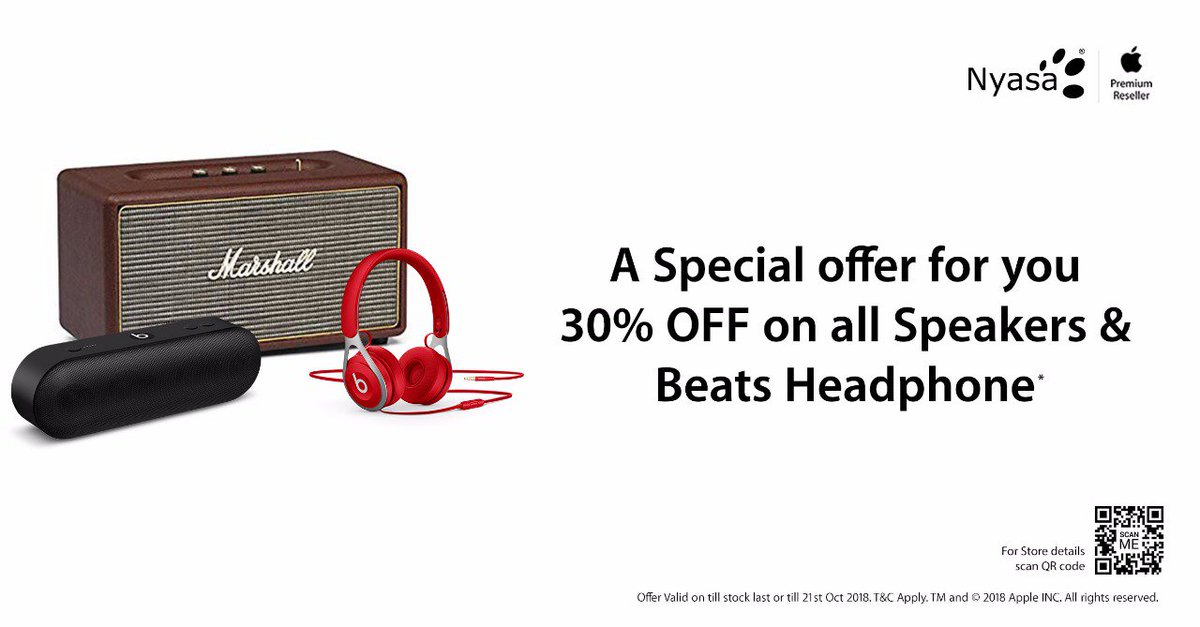 A Special offer for you 30% OFF on all Speakers &amp; Beats Headphones*. Offer valid till stock last or 21st Oct, 2018. T&amp;Cs Apply.  Visit nearest #Nyasa Apple Authorized #Store today &amp; grab the deal  https://www. nyasa.info/our-stores  &nbsp;   #Apple #Speakers #BeatsHeadPhones #Offers #Deals #Shopping<br>http://pic.twitter.com/Q1j4Eh0NIJ