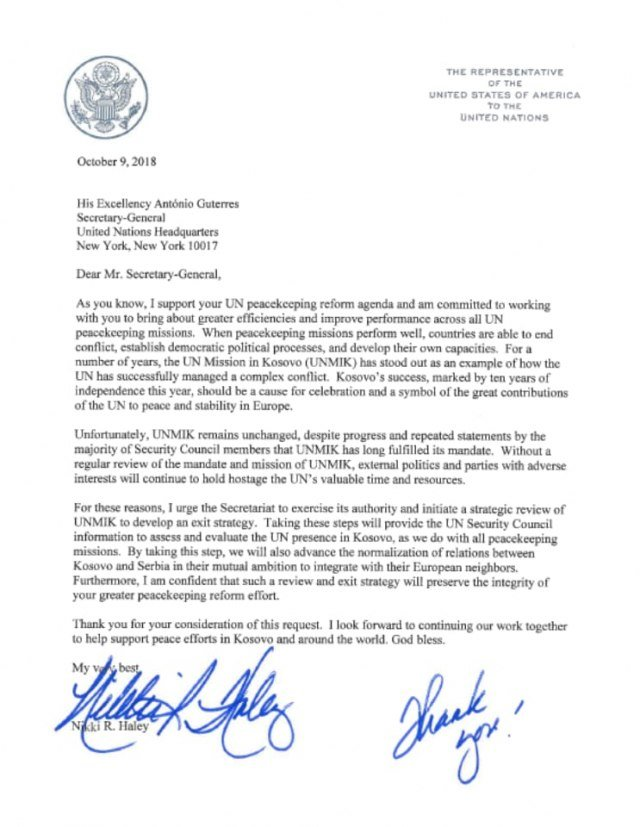 The very last act by Ambassador @nikkihaley before she resigned from @USUN was to request strategic review of @UNMIKosovo mission &amp; prepare exit strategy. Millions of $ from @UN members&#39; being wasted on a &quot;zombie&quot; mission without any role against wishes of the majority of UNSC.<br>http://pic.twitter.com/dt3xDrtVsv