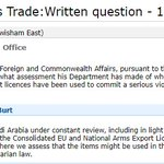 Here, the govt, acting in contempt of parliament, refuses to say if if it knows its arms exports have been used in war crimes in Yemen. We can assume it does know this. https://t.co/LLl8J9ojdf