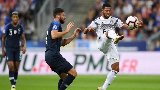 . @SergeGnabry: Ich denke, dass wir in keinster Weise schlechter waren als Frankreich. Wir haben das Spiel gut gestaltet. Hintenraus war es schwer. Wenn wir die Konter besser ausspielen, können wir sogar 2:0 in Führung gehen. #FRAGER #DieMannschaft Foto