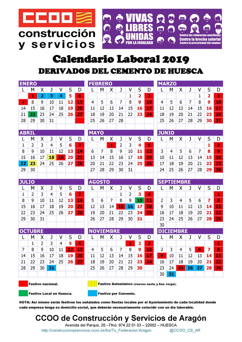 Calendario Laboral Construccion 2020.O Xrhsths Ccoo Cs Aragon Sto Twitter Ccoo Cs Ar Ha Firmado El