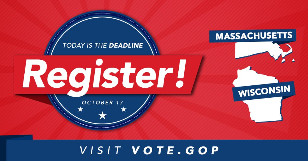 TODAY is the LAST day to register to vote in Massachusetts and Wisconsin! Register today ➡️ https://t.co/CZsNCAAomd https://t.co/308qXI1Zg5
