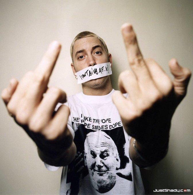 Happy 46th birthday to the fucking GOAT, Marshall Mathers aka Slim Shady aka B-Rabbit aka Eminem
