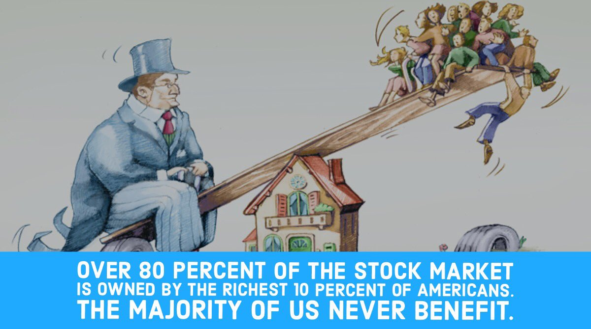 .@realDonaldTrump wants you to believe the stock market equals the economy, it doesn't.  Over 80 percent of the stock market  is owned by the richest 10 percent of Americans. The majority of us never benefit.  Don't be fooled. #VoteBlue<br>http://pic.twitter.com/c3sanc0WfF