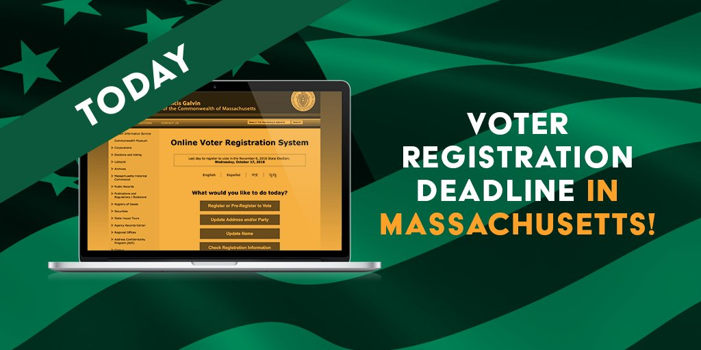 LAST CHANCE: Today is the voter registration deadline in #Massachusetts! Be sure you're registered so that on Nov 6th, you can defend dignity and respect for our #transgender neighbors by voting #YesOn3: https://t.co/lsArzOXD5E ##MaPoli