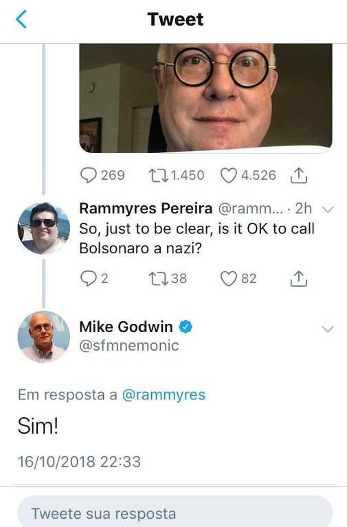 Criador da Lei de Godwin diz que é ok chamar Bolsonaro de nazista #Folha #Eleições2018   https://t.co/TTKjr7SaVr