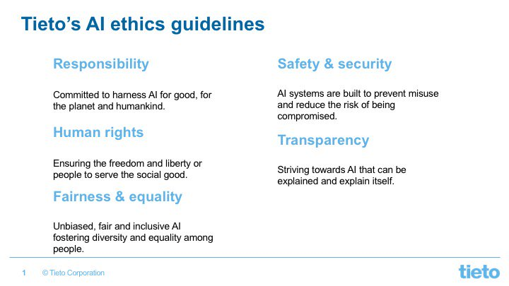 "<a href=""https://twitter.com/hashtag/AI?src=hash"" target=""_blank"">#AI</a> <a href=""https://twitter.com/hashtag/ethics?src=hash"" target=""_blank"">#ethics</a> high on our agenda! We are <a href=""https://twitter.com/hashtag/recruiting?src=hash"" target=""_blank"">#recruiting</a> experts concentrating on ethical usage and development of AI. Our employees committed to ethical guidelines in their operations. Read more: <a href=""https://t.co/qeJwDpsyUA"" target=""_blank"">bit.ly/2PHJUKh</a> <a href=""https://twitter.com/hashtag/TietoAI?src=hash"" target=""_blank"">#TietoAI</a> <a href=""https://twitter.com/hashtag/AI?src=hash"" target=""_blank"">#AI</a>ethics https://t.co/dsT7AAMOlf"