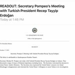 The statement released by the US state department after Erdogan/Pompeo meeting is not as warm/welcoming/supportive as what they released right after meetings in Riyadh last night 🇹🇷🇺🇸🇸🇦
