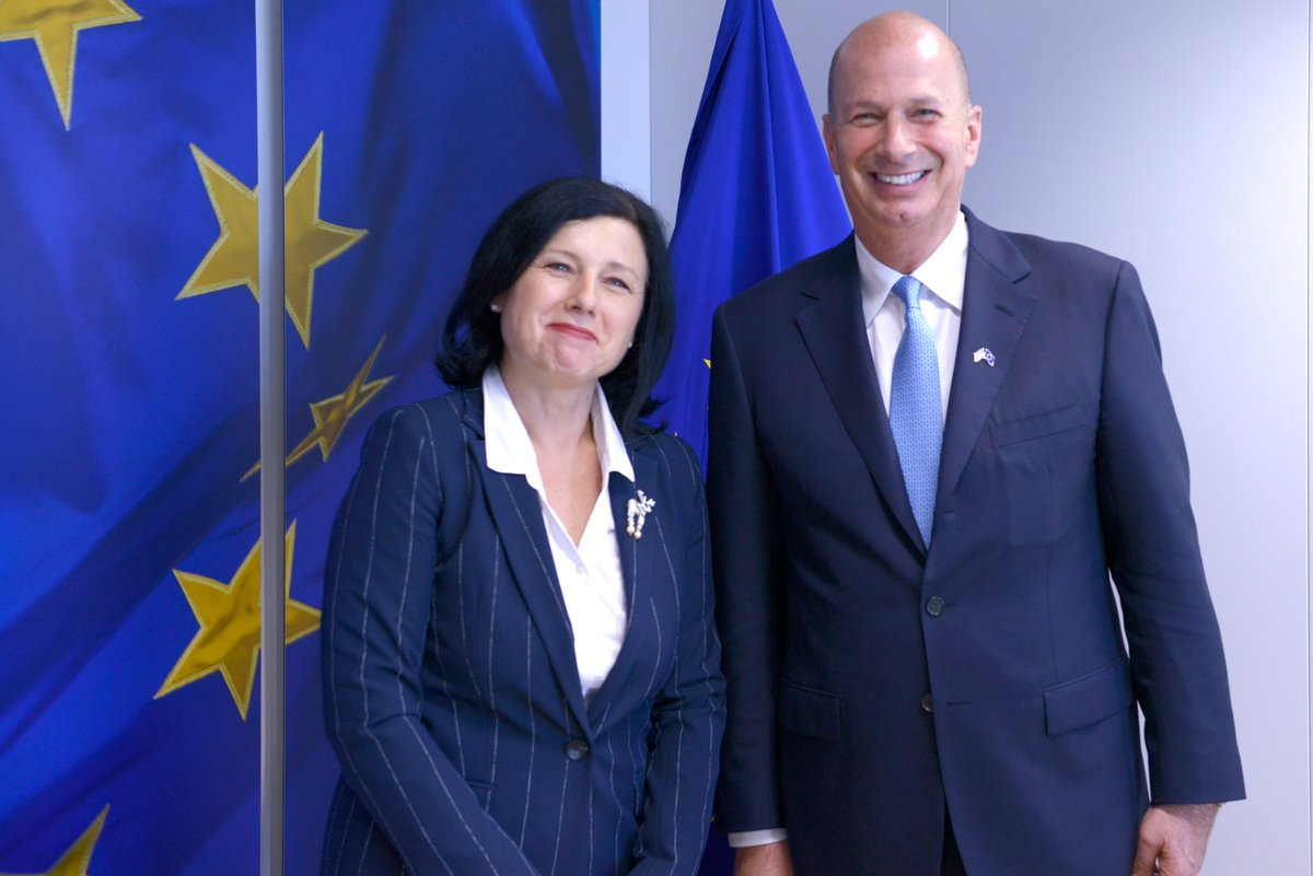 Photo: Ambassador Sondland with Commissioner Jourova in the Berlaymont.