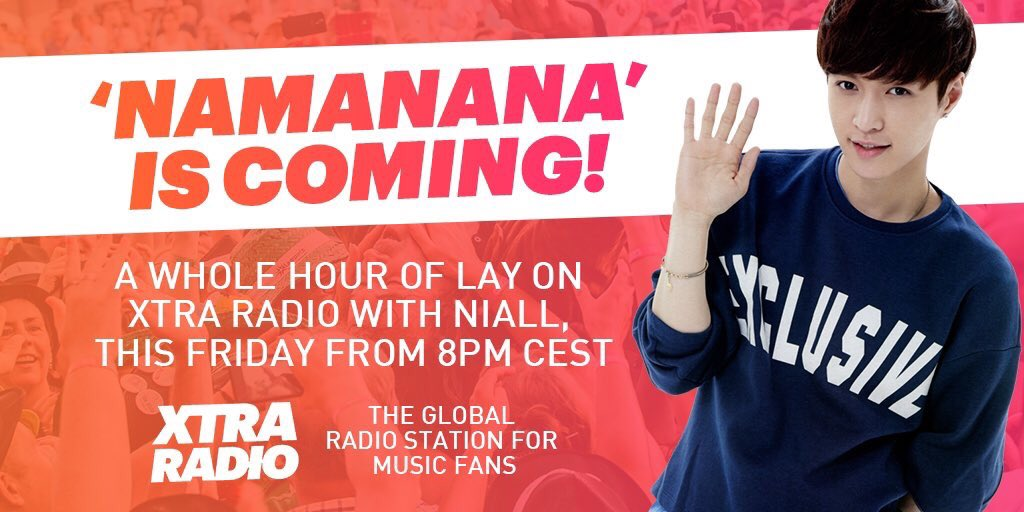TWO DAYS TO GO! This Friday @Niallll will play a whole hour of @LAY_zhang_ to celebrate his new album, #NAMANANA    Expect his new music &amp; all the big hits too!     Listen here:  http:// bit.ly/2liVA8E  &nbsp;    Time zone converter here:  http:// bit.ly/2RN3Pss  &nbsp;    #LayZhang<br>http://pic.twitter.com/0yjjfEzDav