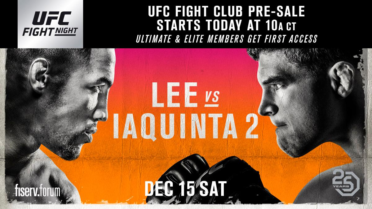 Get your seats for #UFCMilwaukee before anyone else. The @UFC Fight Club pre-sale is LIVE. 🎟 bit.ly/2QUEWd6