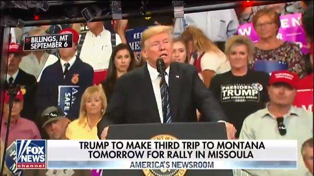 President @realDonaldTrump to make third trip to Montana tomorrow for rally in Missoula https://t.co/ikaS0J857u