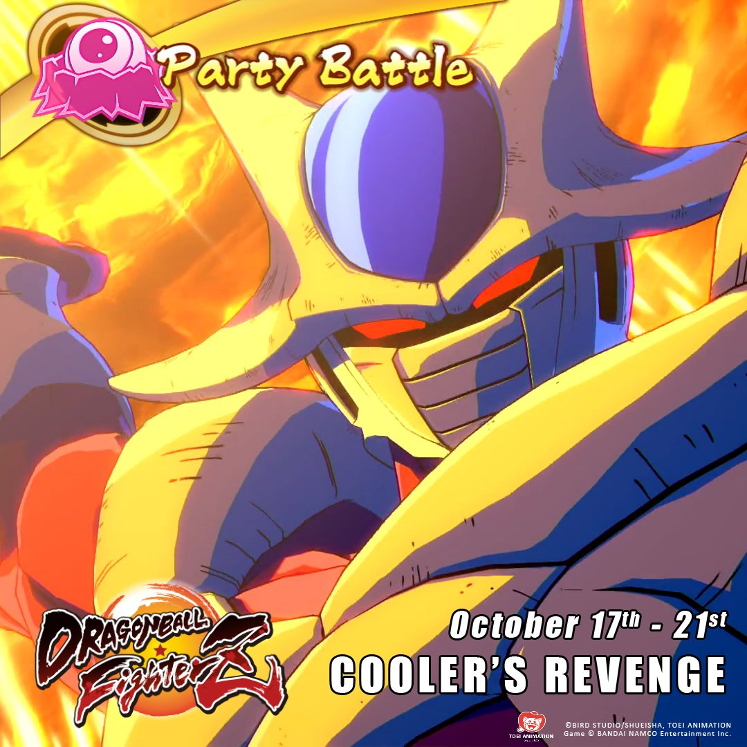Cooler is the marked man for the new party battle that starts today in Dragon Ball FighterZ. Team up with players from all over the world to take down Cooler and earn Z coins and Zeni. Good Luck! #dragonballfighterZ