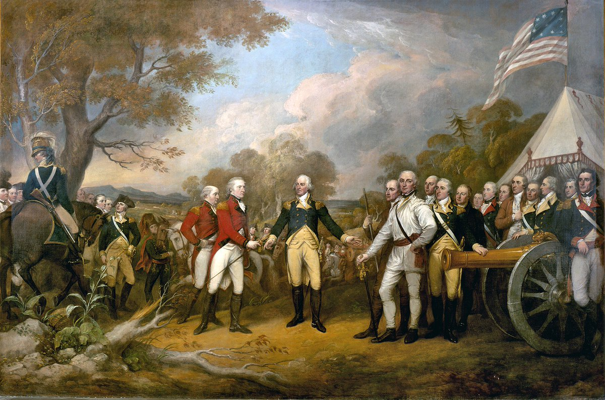 Following defeat at the Battle of Bemis Heights 10 days earlier and surrounded by a larger army, #OTD in 1777 British Gen. John Burgoyne surrenders to American forces under Gen. Horatio Gates, ending the Battles of Saratoga  PC: Trumbull, Surrender of General Burgoyne, 1822