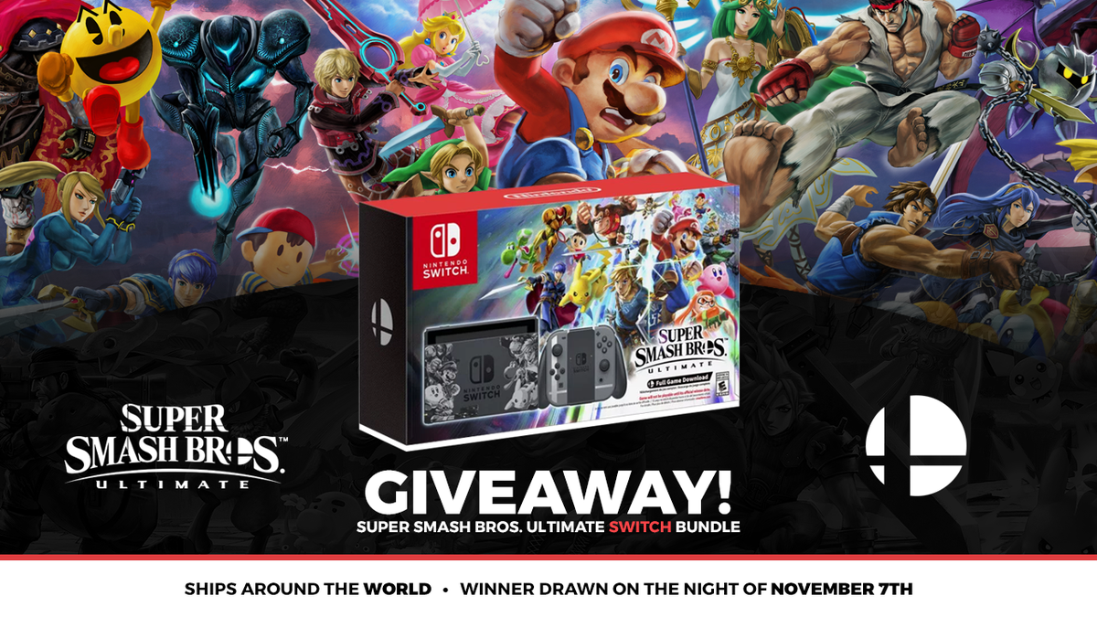 Doing a giveaway for a Super Smash Bros. Ultimate Switch Bundle!  This ships WORLDWIDE and I&#39;ll pick a winner on the night of my birthday, November 7th!  RT for a chance to win! Complete all the actions for a big bonus!  https:// gleam.io/qWroI/super-sm ash-bros-ultimate-switch-bundle &nbsp; … <br>http://pic.twitter.com/KerNAS5Sos