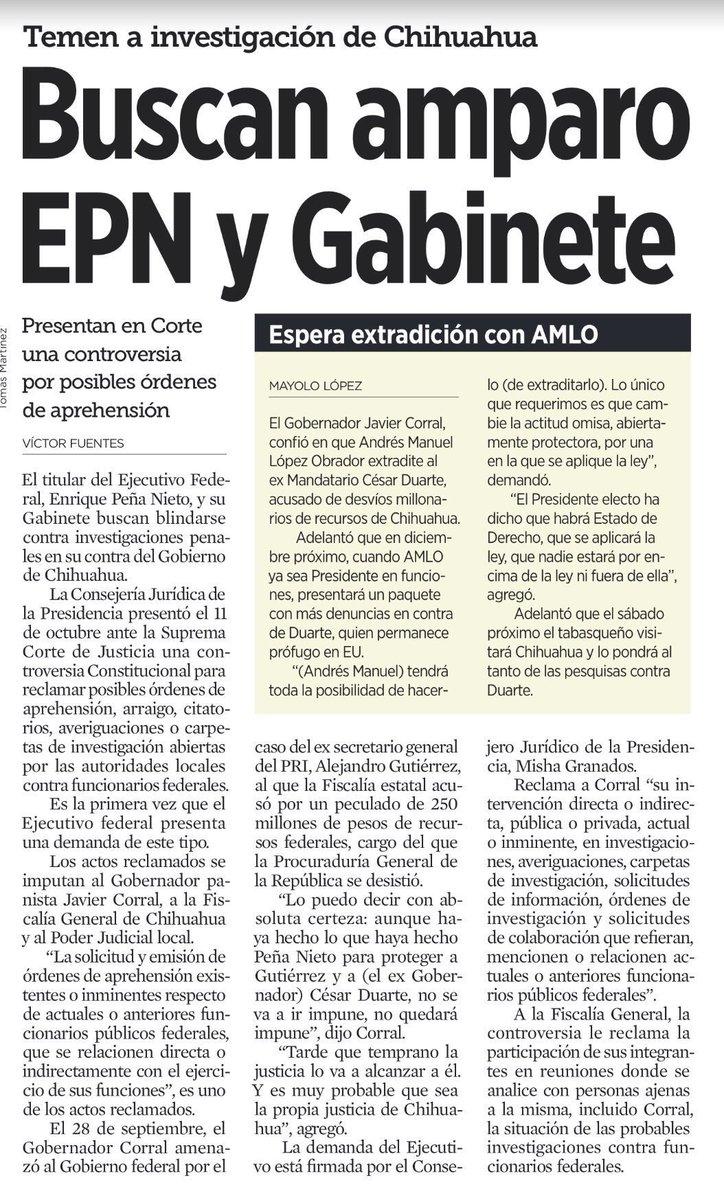 Aquí @EPN atemorizado, amparándose, escuchando los pasos en la azotea. Los pasos que provienen de la investigación iniciada en Chihuahua; la única donde todo apunta hacia él; la única capaz de involucrarlo directamente en actos de corrupción documentados de su gobierno 👇